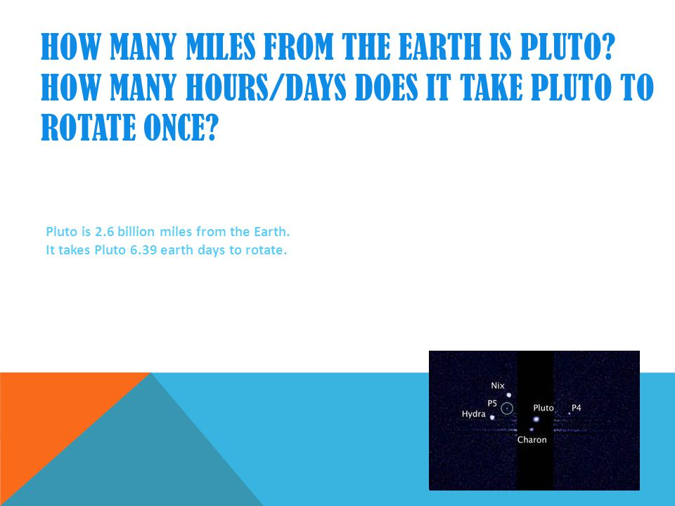 HOW MANY MILES FROM THE EARTH IS PLUTO.HOW MANY HOURS/DAYS DOES IT TAKE PLUTO TO ROTATE ONCE.