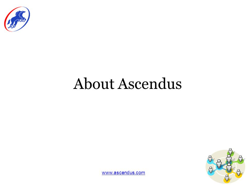 www.ascendus.com Ascendus Profile Founded in 2001 out of Carnegie Mellon University Presence in Bangalore (India), Pittsburgh (USA), San Francisco (USA) and London (UK) Specialization in survey, assessment and training and development software Users of Ascendus solutions include: –Sony Ericsson –Wrigley –The Environmental Protection Agency (EPA) –Vanderbilt University –University of North Carolina –University of Maryland –London Health Science Centre –The National Center for Manufacturing Sciences (NCMS) –The Radio Network