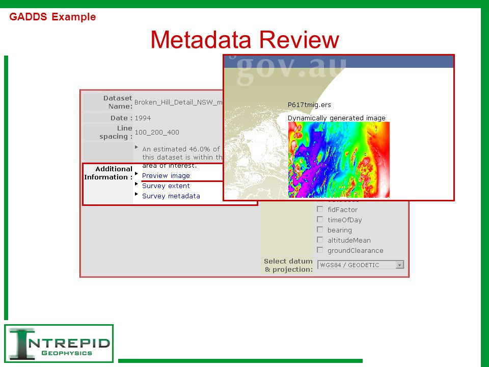 Metadata Review GADDS Example