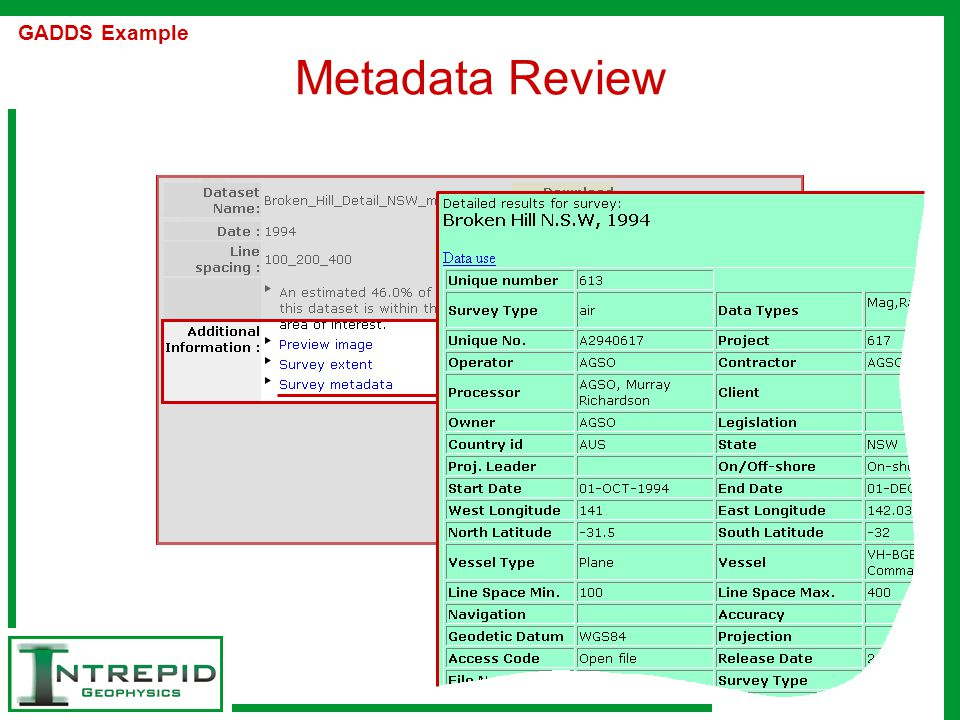Metadata Review GADDS Example