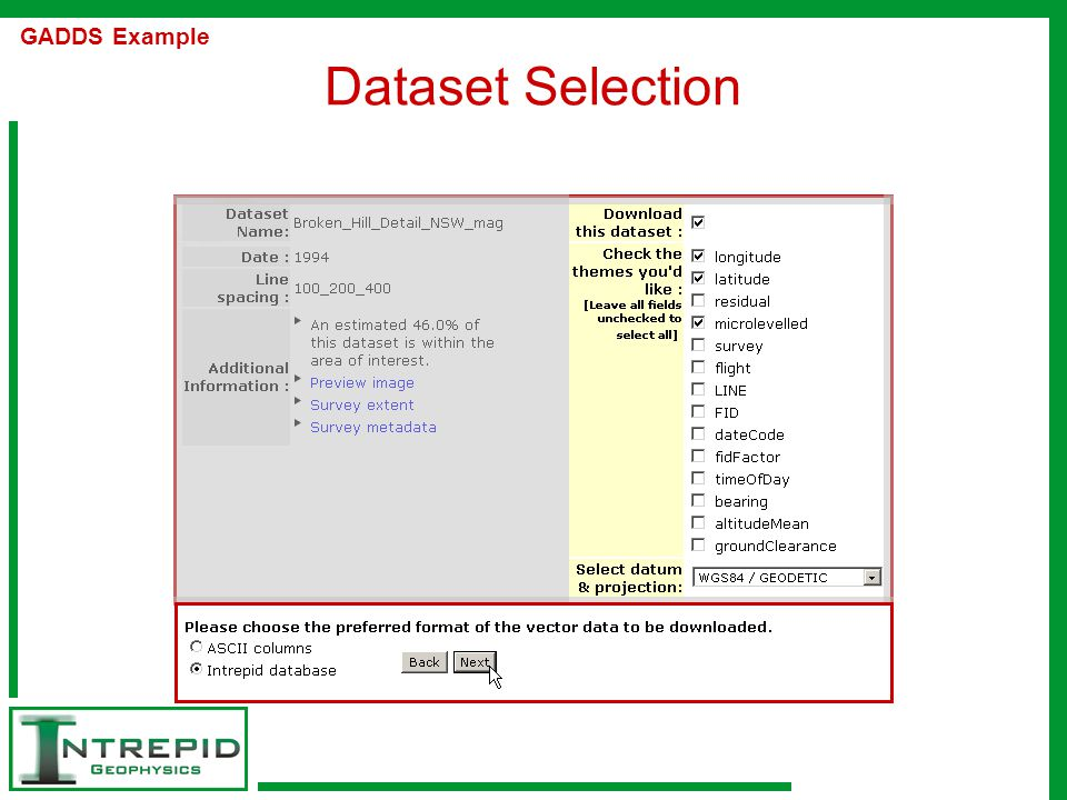 Dataset Selection GADDS Example