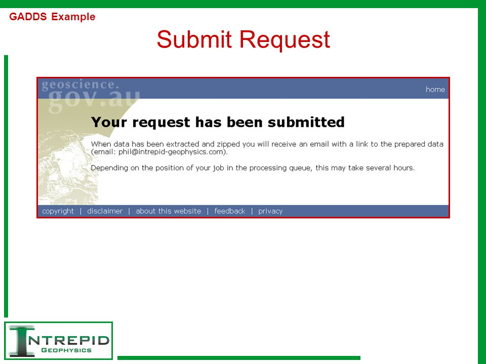 Submit Request GADDS Example