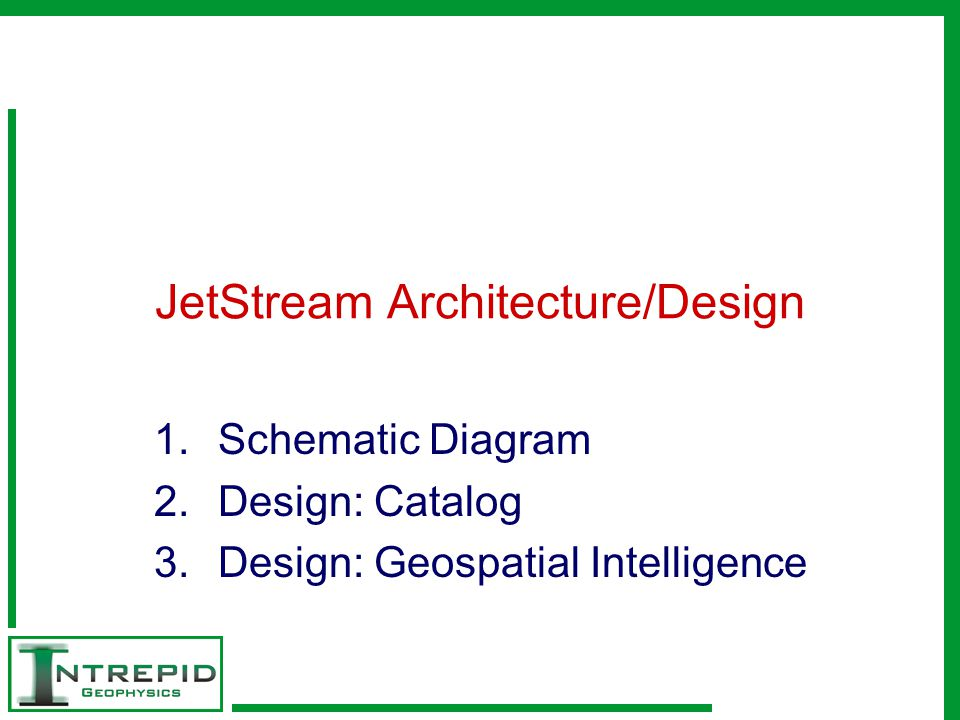 JetStream Architecture/Design 1.Schematic Diagram 2.Design: Catalog 3.Design: Geospatial Intelligence