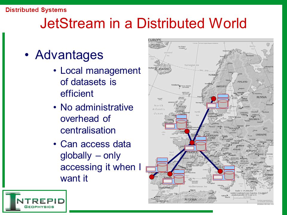 JetStream in a Distributed World Advantages Local management of datasets is efficient No administrative overhead of centralisation Can access data globally – only accessing it when I want it Distributed Systems