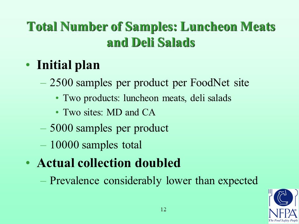12 Total Number of Samples: Luncheon Meats and Deli Salads Initial plan –2500 samples per product per FoodNet site Two products: luncheon meats, deli salads Two sites: MD and CA –5000 samples per product –10000 samples total Actual collection doubled –Prevalence considerably lower than expected
