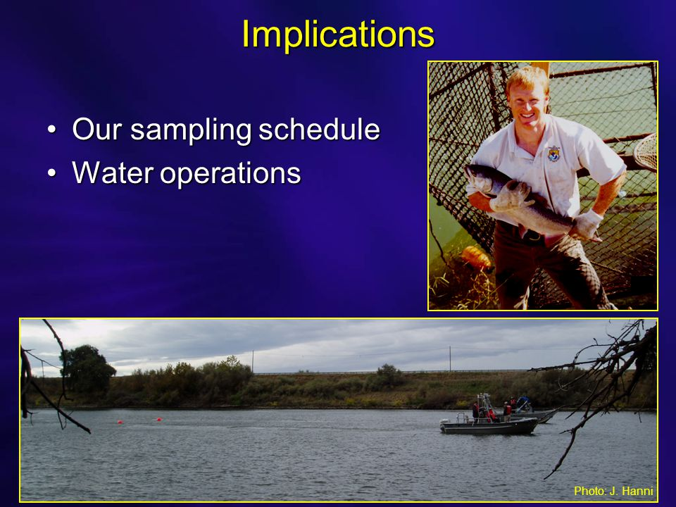 Implications Our sampling scheduleOur sampling schedule Water operationsWater operations Photo: J.