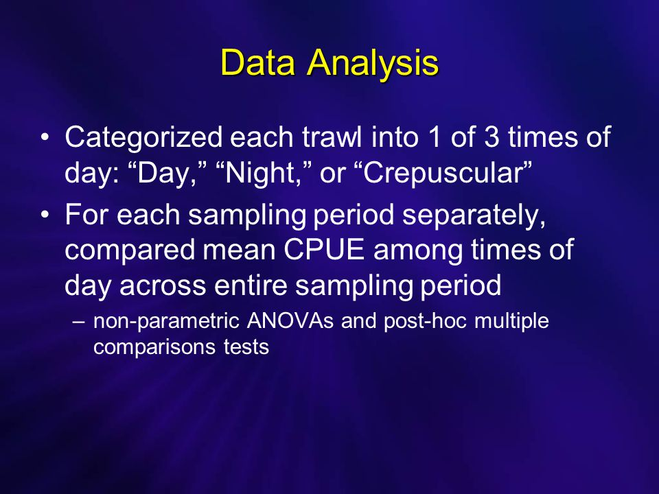 Data Analysis Categorized each trawl into 1 of 3 times of day: Day, Night, or Crepuscular For each sampling period separately, compared mean CPUE among times of day across entire sampling period –non-parametric ANOVAs and post-hoc multiple comparisons tests