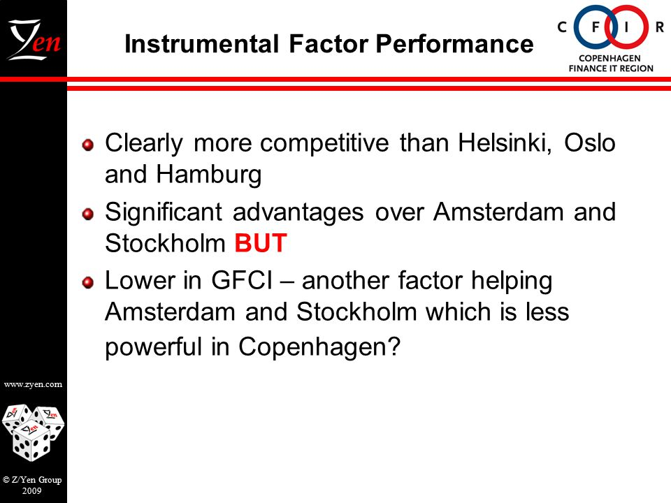 www.zyen.com © Z/Yen Group 2009 Instrumental Factor Performance Clearly more competitive than Helsinki, Oslo and Hamburg Significant advantages over Amsterdam and Stockholm BUT Lower in GFCI – another factor helping Amsterdam and Stockholm which is less powerful in Copenhagen