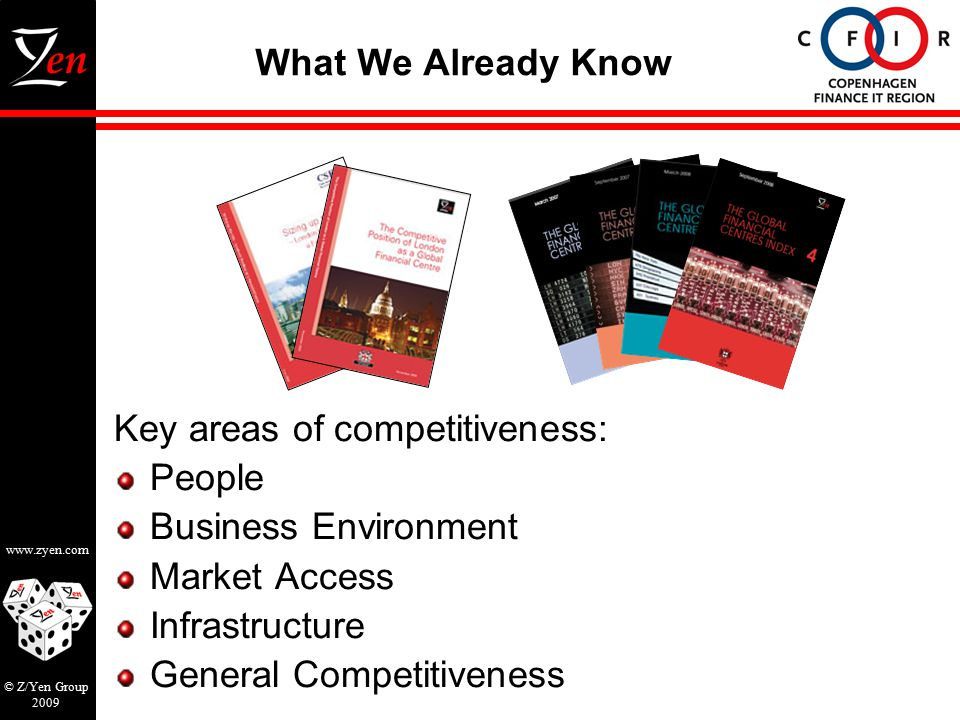 www.zyen.com © Z/Yen Group 2009 What We Already Know Key areas of competitiveness: People Business Environment Market Access Infrastructure General Competitiveness