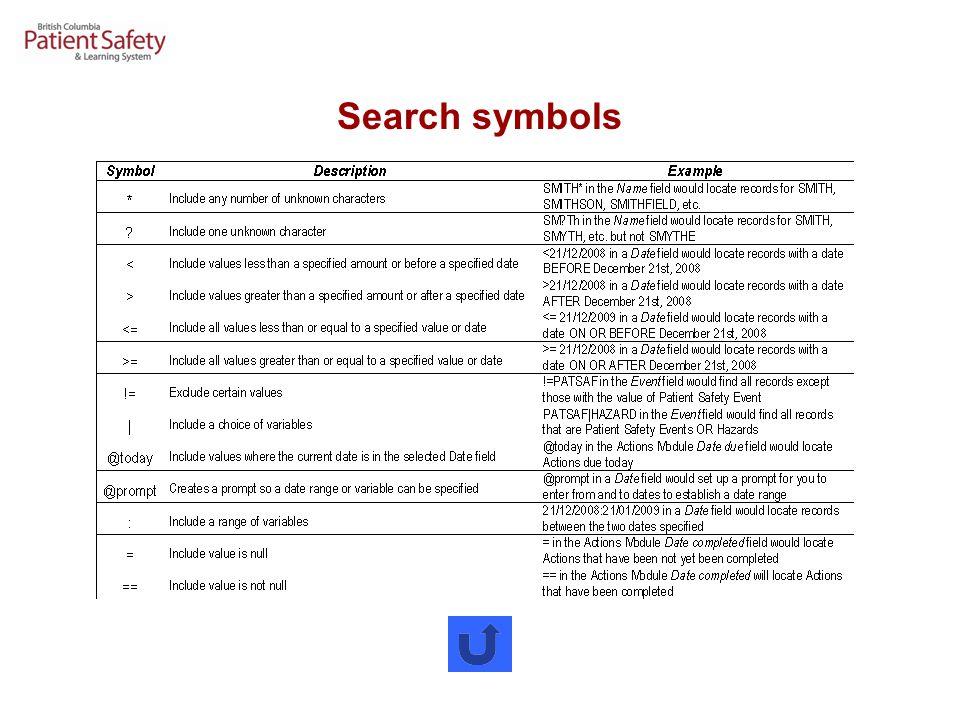 Search symbols