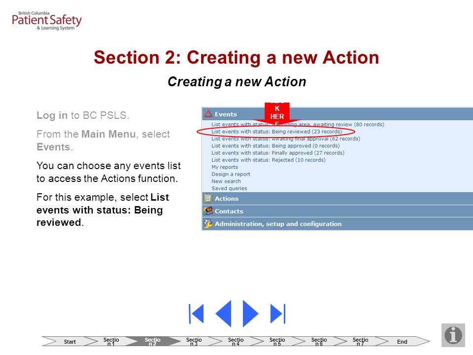 Creating a new Action Log in to BC PSLS. From the Main Menu, select Events.