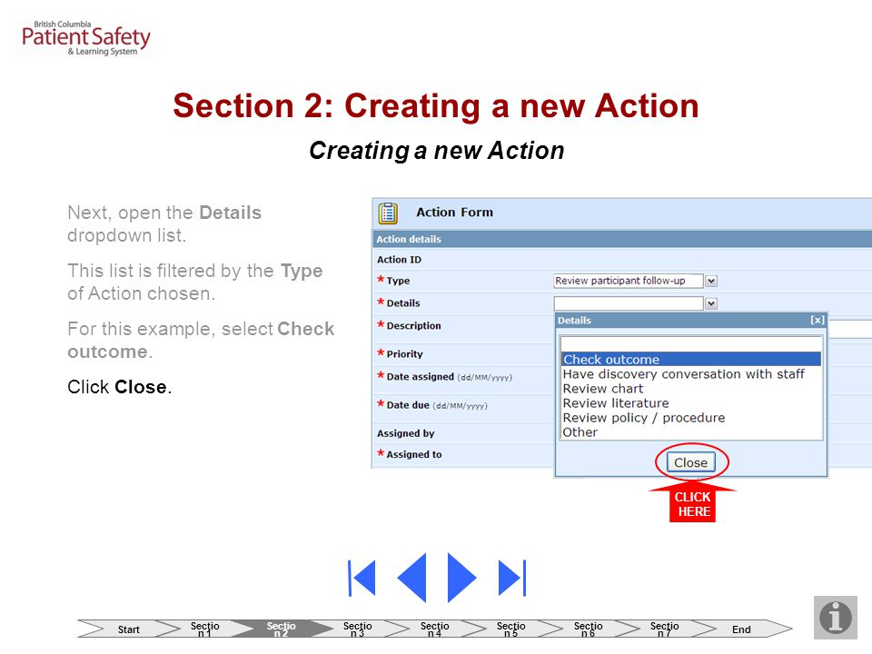 Creating a new Action Section 2: Creating a new Action Next, open the Details dropdown list. This list is filtered by the Type of Action chosen. For t