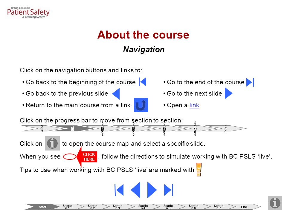 About the course Navigation Click on to open the course map and select a specific slide. Click on the navigation buttons and links to: Go back to the