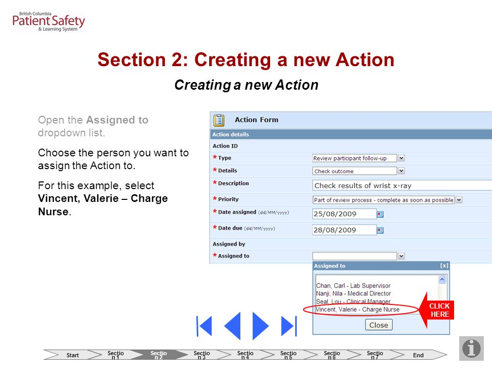 Creating a new Action Open the Assigned to dropdown list.