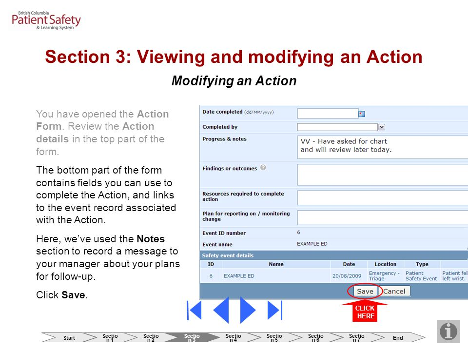 Modifying an Action You have opened the Action Form.