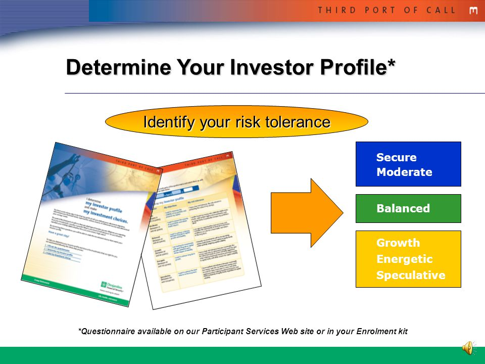 2 A Three-Step Approach 1.Fill out the questionnaire 2.Determine your investor profile 3.Choose your investments
