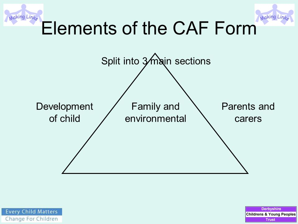 Elements of the CAF Form Family and environmental Parents and carers Development of child Split into 3 main sections
