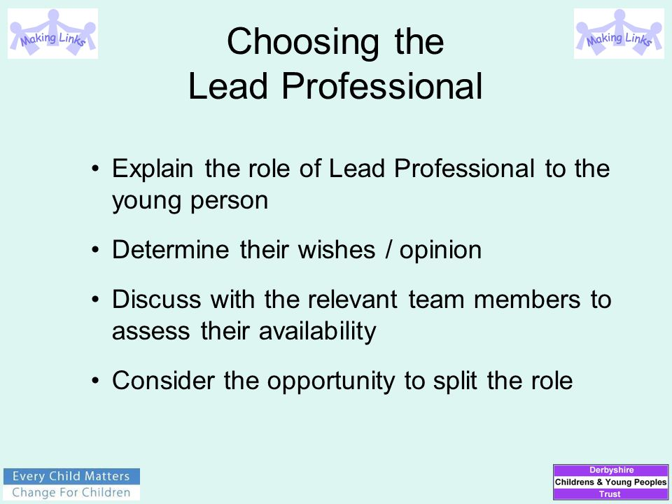 Explain the role of Lead Professional to the young person Determine their wishes / opinion Discuss with the relevant team members to assess their avai