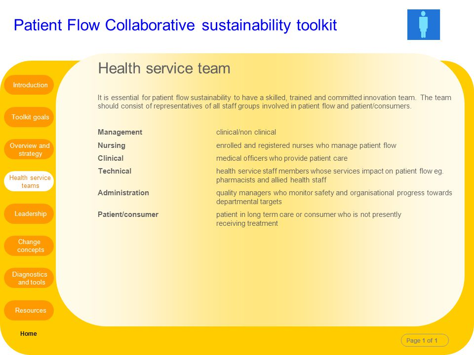Patient Flow Collaborative sustainability toolkit Health service team It is essential for patient flow sustainability to have a skilled, trained and c