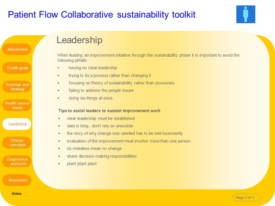 Patient Flow Collaborative sustainability toolkit When leading an improvement initiative through the sustainability phase it is important to avoid the