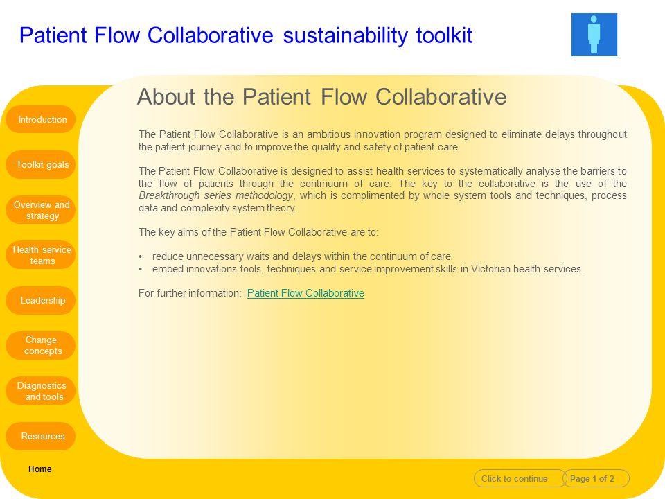 Patient Flow Collaborative sustainability toolkit The Patient Flow Collaborative is an ambitious innovation program designed to eliminate delays throu