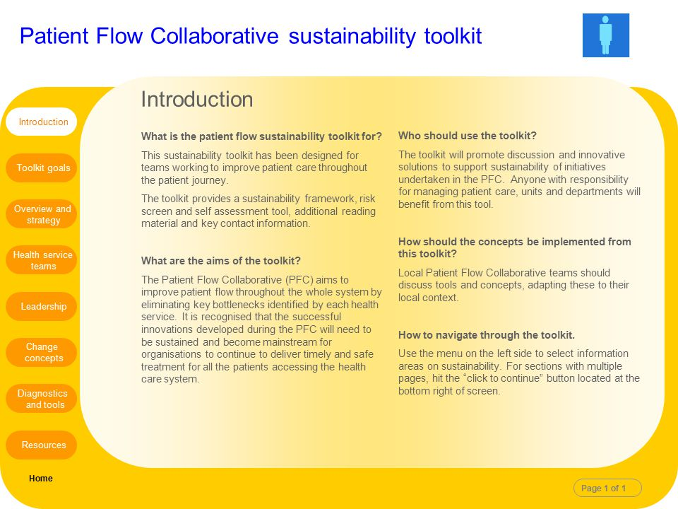 Patient Flow Collaborative sustainability toolkit Introduction What is the patient flow sustainability toolkit for? This sustainability toolkit has be