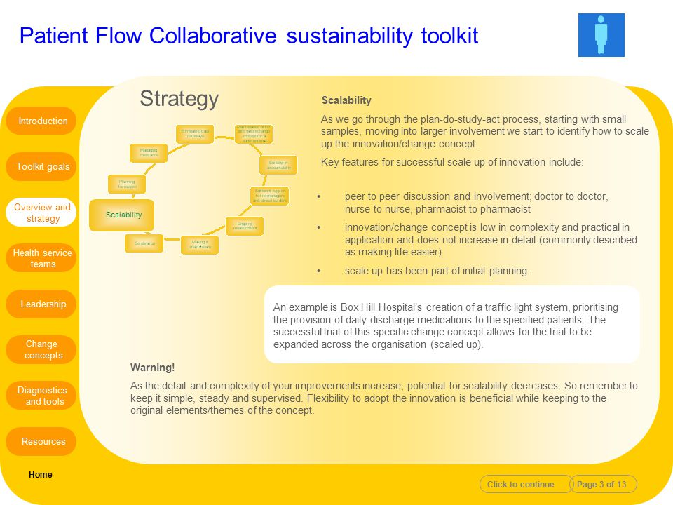 Patient Flow Collaborative sustainability toolkit Scalability As we go through the plan-do-study-act process, starting with small samples, moving into