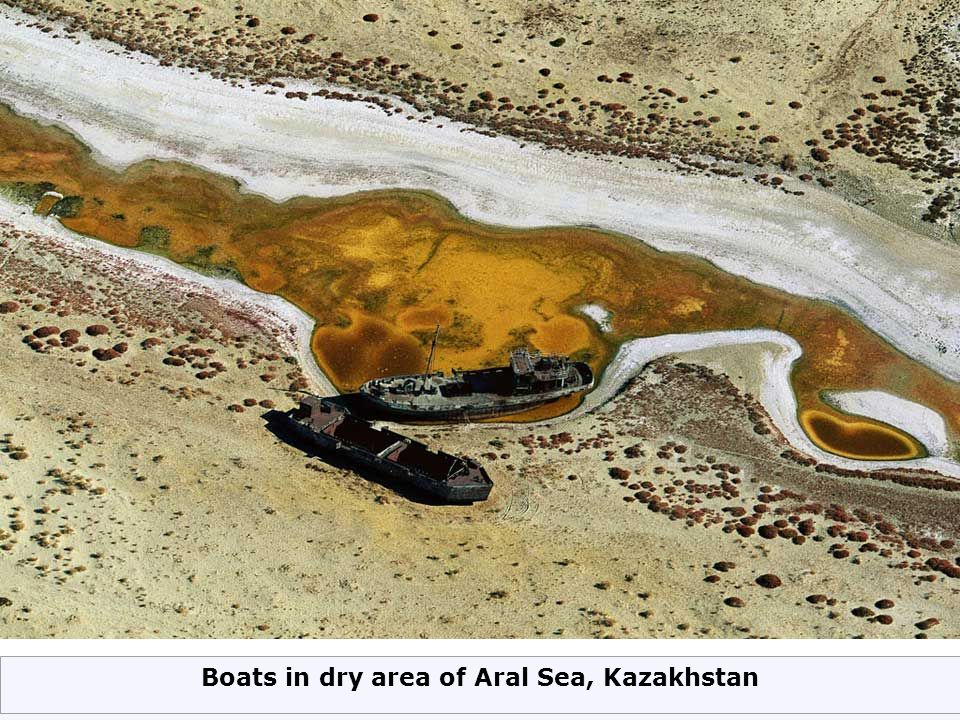 Boats in dry area of Aral Sea, Kazakhstan