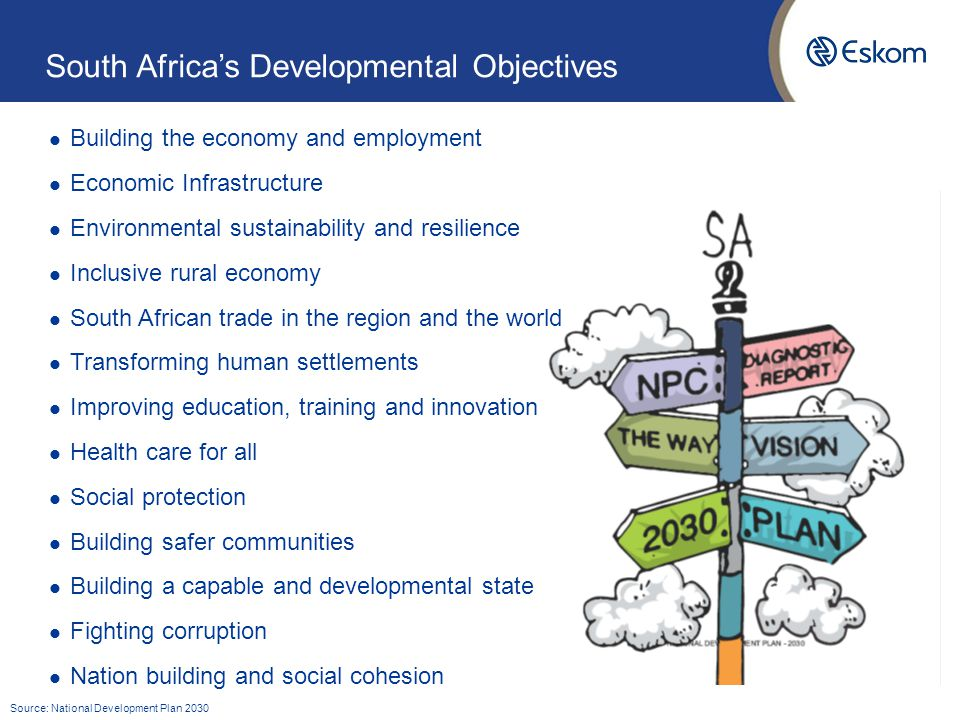 South Africa's Developmental Objectives Building the economy and employment Economic Infrastructure Environmental sustainability and resilience Inclusive rural economy South African trade in the region and the world Transforming human settlements Improving education, training and innovation Health care for all Social protection Building safer communities Building a capable and developmental state Fighting corruption Nation building and social cohesion Source: National Development Plan 2030