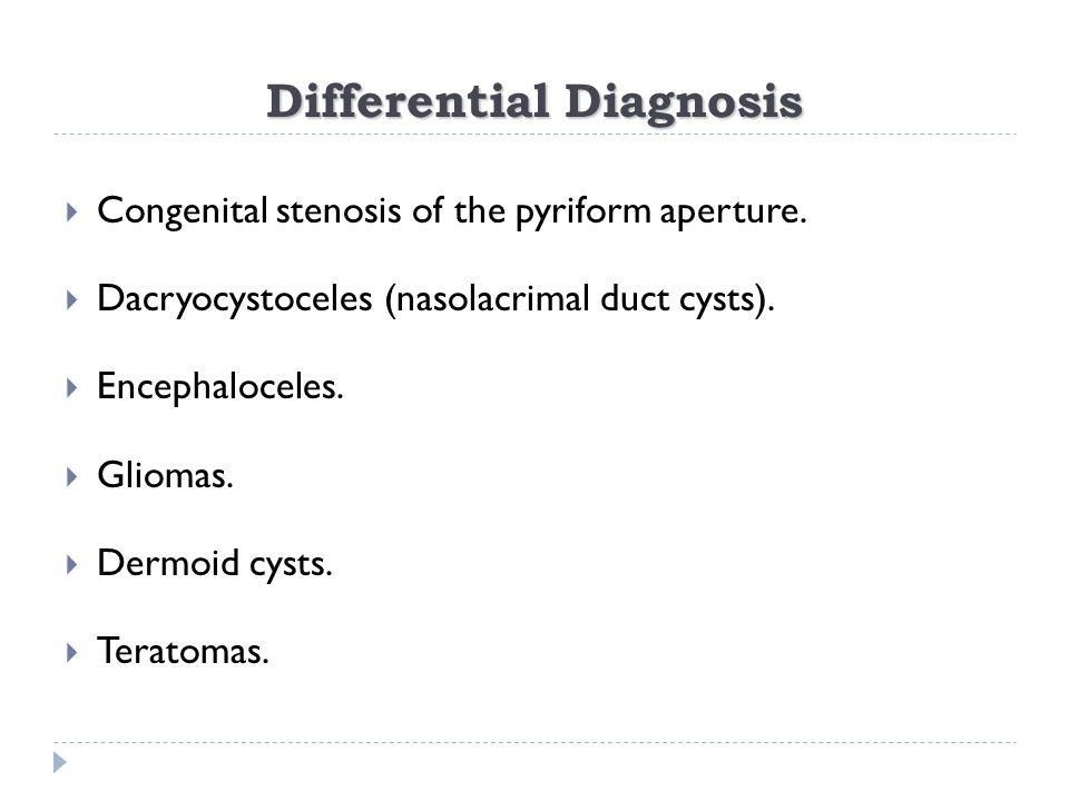  Congenital stenosis of the pyriform aperture.  Dacryocystoceles (nasolacrimal duct cysts).  Encephaloceles.  Gliomas.  Dermoid cysts.  Teratoma