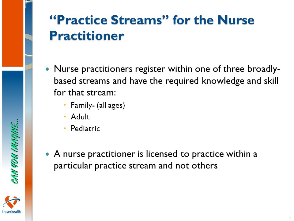 5 Practice Streams for the Nurse Practitioner Nurse practitioners register within one of three broadly- based streams and have the required knowledge and skill for that stream:  Family- (all ages)  Adult  Pediatric A nurse practitioner is licensed to practice within a particular practice stream and not others CAN YOU IMAGINE…