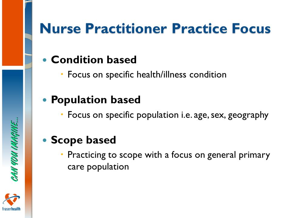 6 Nurse Practitioner Practice Focus Condition based  Focus on specific health/illness condition Population based  Focus on specific population i.e.