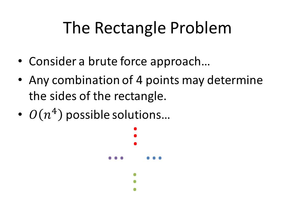 The Rectangle Problem...... ……