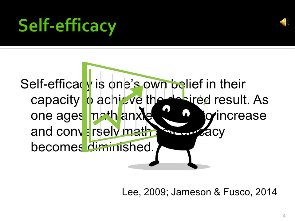 Self-efficacy is one's own belief in their capacity to achieve the desired result.