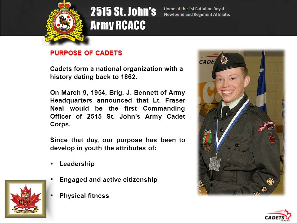 PURPOSE OF CADETS Cadets form a national organization with a history dating back to 1862.