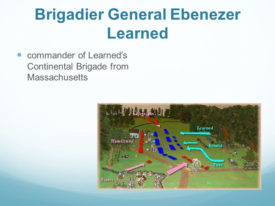 Brigadier General Ebenezer Learned commander of Learned's Continental Brigade from Massachusetts
