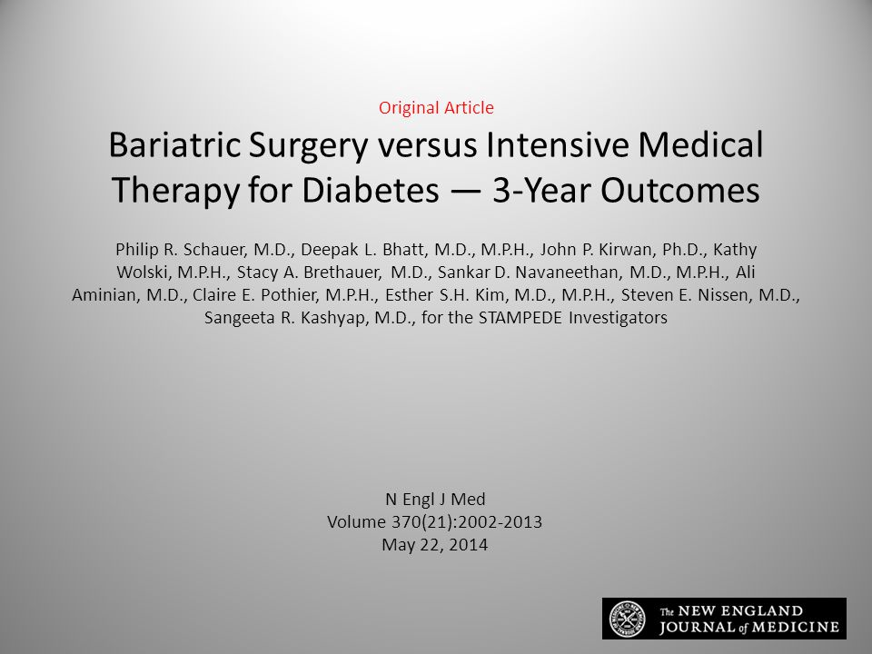 Original Article Bariatric Surgery versus Intensive Medical Therapy for Diabetes — 3-Year Outcomes Philip R.