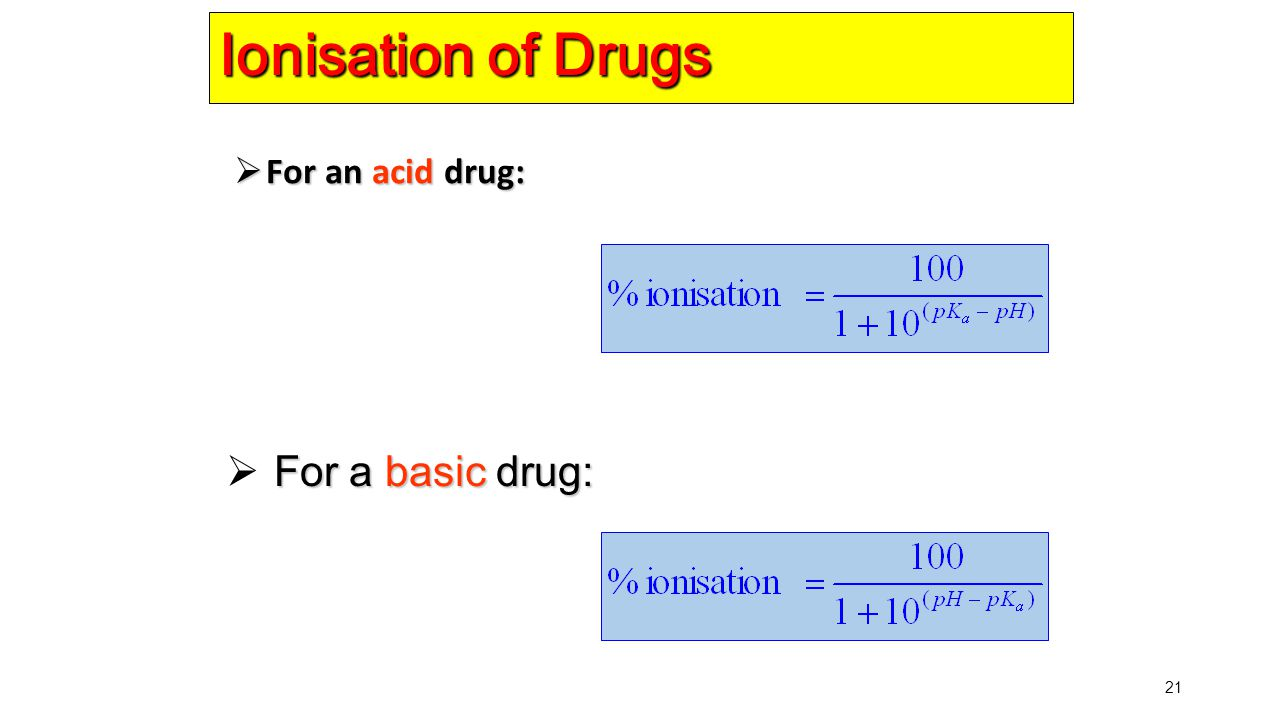 21 Ionisation of Drugs  For an acid drug: For a basic drug:  For a basic drug: