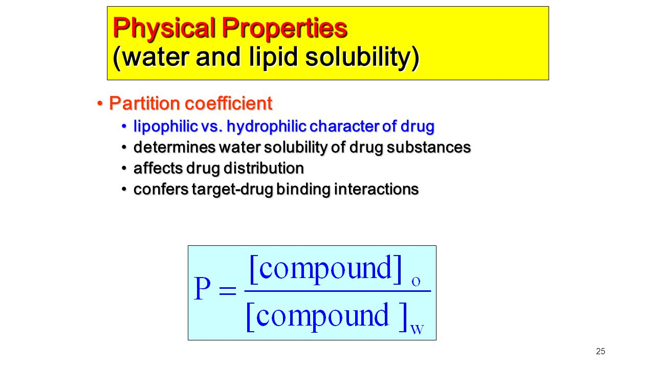 25 Physical Properties (water and lipid solubility) Partition coefficient Partition coefficient lipophilic vs. hydrophilic character of drug lipophili
