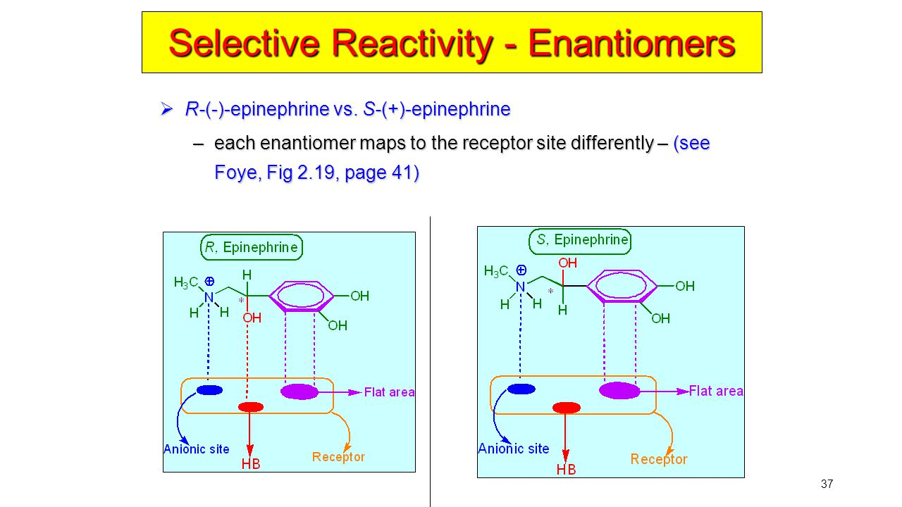 37 Selective Reactivity - Enantiomers  R-(-)-epinephrine vs. S-(+)-epinephrine –each enantiomer maps to the receptor site differently – (see Foye, Fi