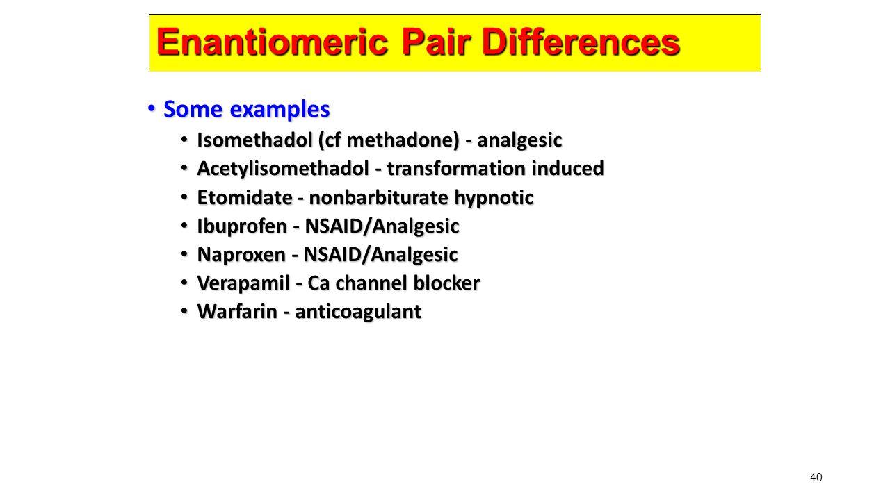 40 Enantiomeric Pair Differences Some examples Some examples Isomethadol (cf methadone) - analgesic Isomethadol (cf methadone) - analgesic Acetylisome