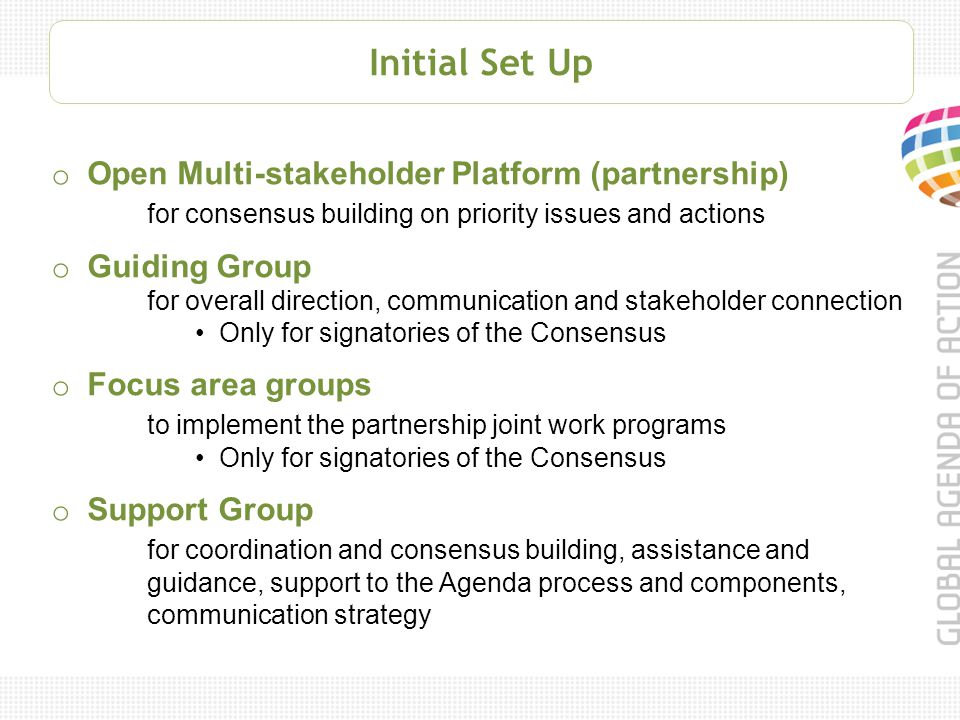 Initial Set Up o Open Multi-stakeholder Platform (partnership) for consensus building on priority issues and actions o Guiding Group for overall direction, communication and stakeholder connection Only for signatories of the Consensus o Focus area groups to implement the partnership joint work programs Only for signatories of the Consensus o Support Group for coordination and consensus building, assistance and guidance, support to the Agenda process and components, communication strategy