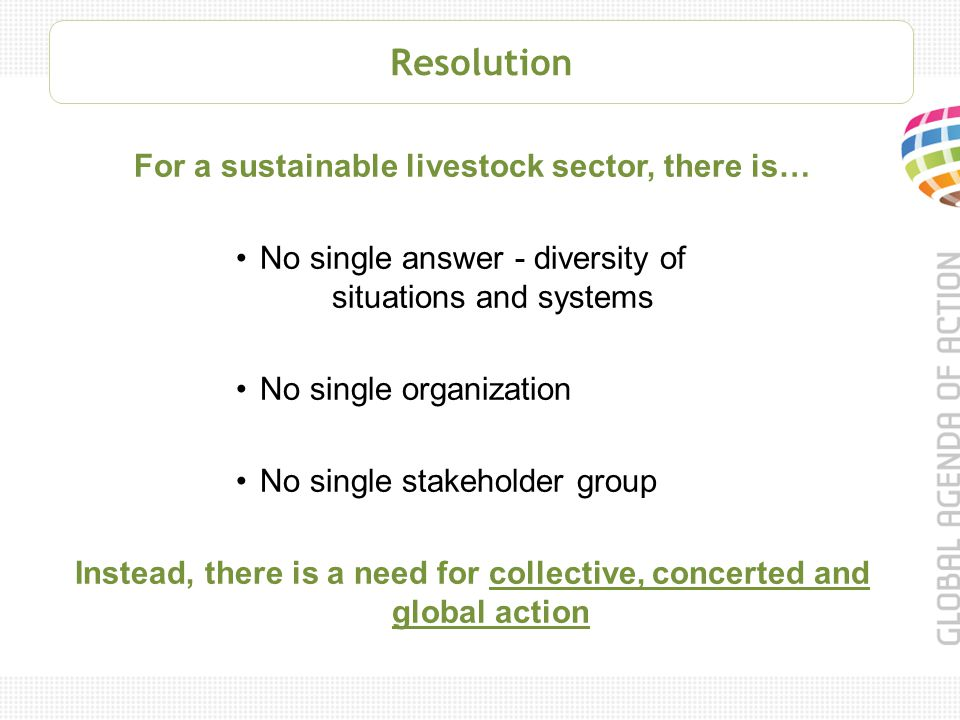 o Multi-stakeholder partnership committed to sustainable livestock sector development o Continuous improvement of natural resource use o Links three BIG challenges of our time Resource Scarcity Demand growth Poverty o Addresses unprecedented challenges o Unites the forces of all sector actors o Focuses on themes with a high potential for change o Informs, guides and catalyzes practice change o Supports innovation and investment in viable sector solutions Global Agenda of Action
