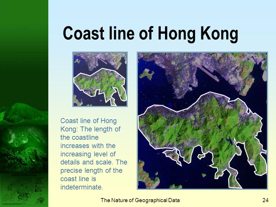The Nature of Geographical Data23 The length of coast line problem  How long is the coast line of Hong Kong Island.