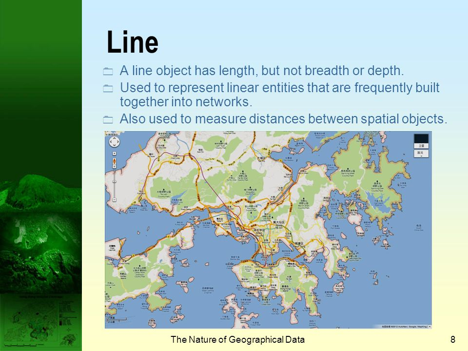 The Nature of Geographical Data7 Point  A point object has neither length nor breadth nor depth.