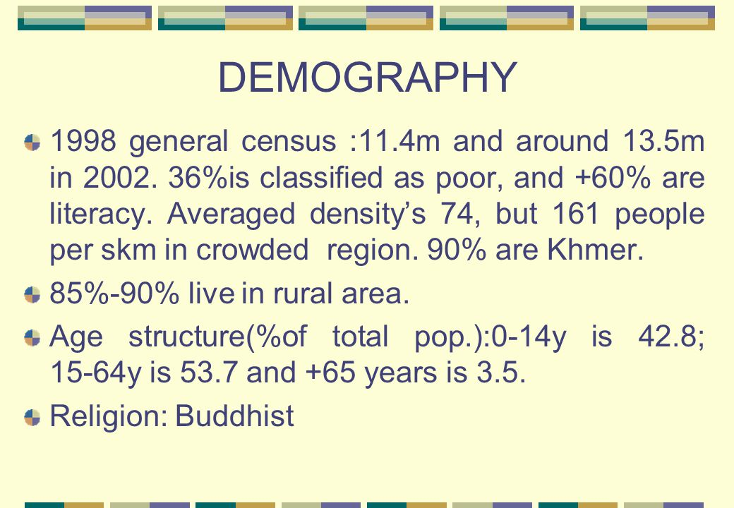 DEMOGRAPHY 1998 general census :11.4m and around 13.5m in 2002.