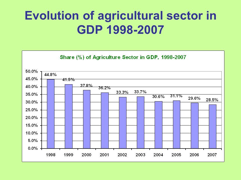 Evolution of agricultural sector in GDP 1998-2007