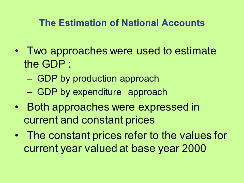The Estimation of National Accounts GDP by production: Sum of Gross Value Added (GVA) of : – Agriculture sector – Industry sector – Services sector –and tax on production less subsidies and FISIM