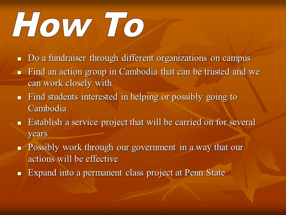 Do a fundraiser through different organizations on campus Do a fundraiser through different organizations on campus Find an action group in Cambodia that can be trusted and we can work closely with Find an action group in Cambodia that can be trusted and we can work closely with Find students interested in helping or possibly going to Cambodia Find students interested in helping or possibly going to Cambodia Establish a service project that will be carried on for several years Establish a service project that will be carried on for several years Possibly work through our government in a way that our actions will be effective Possibly work through our government in a way that our actions will be effective Expand into a permanent class project at Penn State Expand into a permanent class project at Penn State
