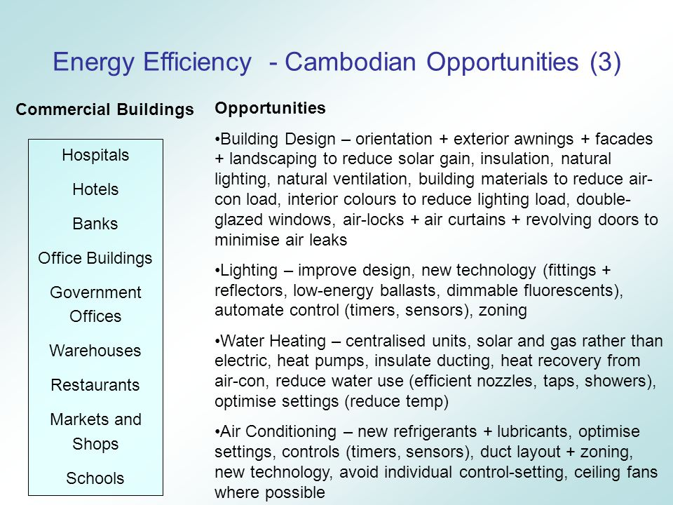 Energy Efficiency - Cambodian Opportunities (3) Hospitals Hotels Banks Office Buildings Government Offices Warehouses Restaurants Markets and Shops Schools Opportunities Building Design – orientation + exterior awnings + facades + landscaping to reduce solar gain, insulation, natural lighting, natural ventilation, building materials to reduce air- con load, interior colours to reduce lighting load, double- glazed windows, air-locks + air curtains + revolving doors to minimise air leaks Lighting – improve design, new technology (fittings + reflectors, low-energy ballasts, dimmable fluorescents), automate control (timers, sensors), zoning Water Heating – centralised units, solar and gas rather than electric, heat pumps, insulate ducting, heat recovery from air-con, reduce water use (efficient nozzles, taps, showers), optimise settings (reduce temp) Air Conditioning – new refrigerants + lubricants, optimise settings, controls (timers, sensors), duct layout + zoning, new technology, avoid individual control-setting, ceiling fans where possible Commercial Buildings